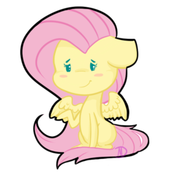 Size: 500x500 | Tagged: safe, artist:mdragonflame, fluttershy, pegasus, pony, beady eyes, blush sticker, blushing, chibi, cute, floppy ears, missing cutie mark, raised hoof, shyabetes, simple background, sitting, smiling, solo, spread wings, transparent background, wings
