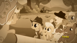Size: 1920x1080 | Tagged: animation error, apple bloom, apple chord, applejack, big macintosh, discovery family logo, earth pony, facial hair, female, filly, filly applejack, granny smith, male, mare, moustache, pony, safe, screencap, sepia, sparkle's seven, spoiler:s09e04, stallion, teenage big macintosh, teenager, unnamed pony, younger, yuma spurs