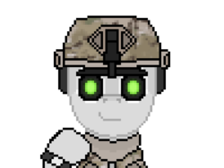 Size: 900x675 | Tagged: safe, artist:lietiejackson, oc, oc only, oc:heartshot, semi-anthro, bust, camouflage, clothes, combat shirt, f.a.s.t helmet, headphones, helmet, looking at you, male, military, multicam, navy seal, night vision goggles, pixel art, portrait, scarf, simple background, smiling, smiling at you, solo, watch, white background