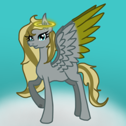 Size: 768x768 | Tagged: safe, artist:commandereclipse, oc, oc only, oc:golden clouds, angel pony, original species, pegasus, pony, angel, cloud, female, halo, mare, raised hoof, sky, solo