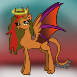 Size: 768x768 | Tagged: safe, artist:commandereclipse, oc, oc only, oc:moral guide, angel pony, demon, demon pony, hybrid, original species, pony, abstract background, angel, devil horns, female, halo, horns, mare, paws, solo