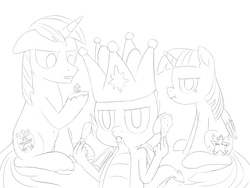 Size: 1600x1200 | Tagged: alicorn, artist:unsavorydom, bird, chicken, crown, d20, dragon, drumstick, food, hard-won helm of the sibling supreme, jewelry, meat, monochrome, paper crown, pony, regalia, safe, scrunchy face, shining armor, sitting, sparkle's seven, spike, spoiler:s09e04, there was an attempt, twilight sparkle, twilight sparkle (alicorn), winged spike, you tried