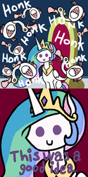 Size: 1500x3000 | Tagged: alicorn, animal, artist:oneovertwo, comic, goose, pony, princess celestia, safe, sitting, sparkle's seven, spoiler:s09e04, this is fine, throne