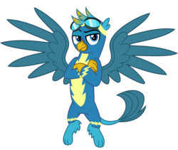 Size: 4500x3800 | Tagged: safe, artist:cheezedoodle96, gallus, griffon, .svg available, blue, clothes, crossed arms, flying, goggles, griffon wonderbolt, looking at you, male, non-pegasus wonderbolt, paws, raised eyebrow, simple background, solo, svg, transparent background, uniform, vector, wonderbolt gallus, wonderbolts, wonderbolts uniform