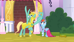 Size: 1850x1041 | Tagged: safe, screencap, rainbow dash, zephyr breeze, pegasus, pony, sparkle's seven, clothes, dress, female, hair spray, hair styling, lidded eyes, male, man bun, mare, megaradash, rainbow dash always dresses in style, raised hoof, royal guard, royal guard armor, royal guard zephyr breeze, smiling, stallion, updo, wing hands, wingers