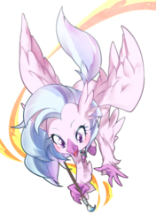 Size: 705x1000 | Tagged: artist:nabebuta, cute, diastreamies, female, hippogriff, open mouth, paint, painting, safe, silverstream, simple background, solo, spoiler:s09e03, uprooted, white background