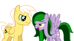 Size: 1280x720 | Tagged: bedroom eyes, editor:jdueler11, female, male, mare, oc, oc:eagle, oc:emerald may, oc only, pegasus, safe, simple background, stallion, transparent background, vector