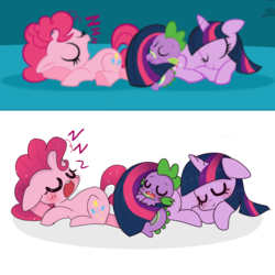 Size: 1804x1804 | Tagged: artist:windymils, blushing, cute, diapinkes, dragon, earth pony, eyes closed, female, floppy ears, mare, my little pony puzzle party, onomatopoeia, pinkie pie, pony, prone, puzzle party, safe, sleeping, sound effects, spikabetes, spike, trio, twiabetes, twilight sparkle, unicorn, unicorn twilight, zzz