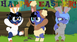 Size: 11000x6000 | Tagged: safe, artist:evilfrenzy, princess luna, oc, oc:cruithne, oc:frenzy, alicorn, anthro, bunnelby, lopunny, scorbunny, unguligrade anthro, unicorn, age regression, alicorn oc, animal costume, baby, bunny costume, clothes, costume, easter, female, filly, foal, heterochromia, holiday, male, offspring, parent:oc:frenzy, parent:princess luna, parents:canon x oc, pokémon, tongue out, woona, younger