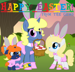 Size: 8000x7704 | Tagged: age regression, artist:evilfrenzy, baby, basket, bunny ears, crossdressing, easter, foal, holiday, oc, oc:azure/sapphire, oc:frenzy, oc only, oc:petticoat, onesie, picnic basket, picnic blanket, safe, tree