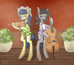 Size: 1213x1075 | Tagged: safe, artist:ladichuma, fiddlesticks, octavia melody, pony, apple family member, bipedal, cello, musical instrument, violin