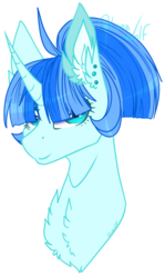 Size: 711x1189 | Tagged: safe, artist:lunawolf28, oc, oc only, oc:lan ahn, pony, unicorn, bust, chest fluff, ear fluff, female, hair over eyes, mare, portrait, simple background, solo, transparent background