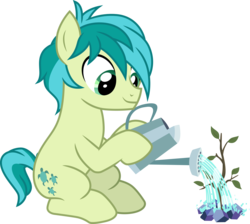 Size: 3349x3000 | Tagged: safe, artist:cloudyglow, sandbar, earth pony, pony, uprooted, .ai available, cute, male, sandabetes, sapling, simple background, solo, transparent background, vector, watering can