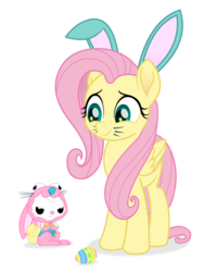 Size: 1200x1600 | Tagged: angel bunny, angel is not amused, animal costume, artist:spookitty, bunny costume, bunny ears, bunnyshy, clothes, costume, cute, duo, easter, easter bunny, easter egg, fluttershy, holiday, holiday special, movie accurate, patreon, rabbit, safe, shyabetes, whiskers