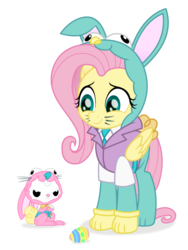 Size: 1200x1600 | Tagged: angel bunny, angel is not amused, animal costume, artist:spookitty, bunny costume, bunny ears, bunnyshy, clothes, costume, cute, duo, easter, easter bunny, easter egg, fluttershy, holiday, holiday special, patreon, rabbit, safe, shyabetes, whiskers
