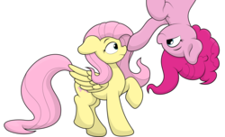Size: 3632x2204 | Tagged: artist:ljdamz1119, boop, cute, diapinkes, duo, earth pony, female, fluttershy, in which pinkie pie forgets how to gravity, mare, pegasus, pinkie being pinkie, pinkie physics, pinkie pie, pony, raised hoof, safe, shyabetes, simple background, transparent background, upside down