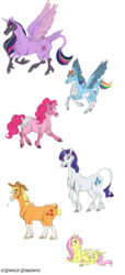 Size: 1024x2254 | Tagged: alicorn, applejack, artist:sketch-shepherd, chest fluff, classical unicorn, cloven hooves, colored wings, cowboy hat, earth pony, female, fluttershy, flying, hat, leonine tail, mane six, mare, pegasus, pinkie pie, pony, rainbow dash, rarity, redesign, safe, simple background, twilight sparkle, twilight sparkle (alicorn), unicorn, unshorn fetlocks, white background