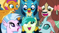 Size: 1280x720 | Tagged: safe, screencap, gallus, ocellus, sandbar, silverstream, smolder, yona, changedling, changeling, dragon, earth pony, griffon, hippogriff, pony, yak, uprooted, cute, diaocelles, diastreamies, dragoness, female, gallabetes, happy, male, sandabetes, singing, smolderbetes, student six, the place where we belong, yonadorable