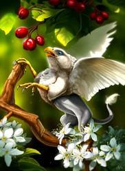 Size: 1800x2477 | Tagged: artist:veyz, berries, branches, flower, food, griffon, leaves, male, micro, oc, oc:der, oc only, safe, solo