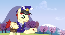 Size: 848x463 | Tagged: care package, hat, mailpony, male, mountain, necktie, pegasus, pony, postman's hat, safe, screencap, solo, special delivery, tree, wonderbolts academy