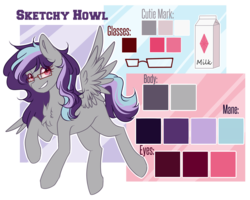 Size: 2939x2357 | Tagged: artist:sketchyhowl, chest fluff, female, glasses, mare, oc, oc:sketchy howl, pegasus, pony, reference sheet, safe, solo