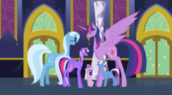 Size: 7367x4099 | Tagged: alicorn, alicorn oc, artist:themexicanpunisher, ask, colt, family, female, filly, lesbian, magical lesbian spawn, male, oc, oc:aurora, oc:nebula, oc:sparkle magic, offspring, parents:twixie, parent:trixie, parent:twilight sparkle, pony, safe, shipping, trixie, tumblr, tumblr:ask twixie, twilight sparkle, twilight sparkle (alicorn), twixie, unicorn
