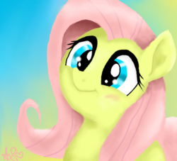 Size: 559x507 | Tagged: artist:uzumakiandrea123, blushing, cute, female, flutterbob, fluttershy, gradient background, mare, pony, safe, shyabetes, signature, solo, the cutie map