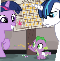 Size: 1770x1793 | Tagged: safe, composite screencap, edit, edited screencap, screencap, shining armor, spike, twilight sparkle, dragon, pony, unicorn, sparkle's seven, spoiler:s09e04, baby, baby dragon, baby spike, chart, crayon, cute, diaper, female, filly, filly twilight sparkle, foreshadowing, frown, gold star, happy, male, panorama, sad, shining armor's cutie mark, siblings, smiling, sparkle siblings, spikabetes, teen shining armor, teenager, trio, twilight's cutie mark, unicorn twilight, written equestrian, younger