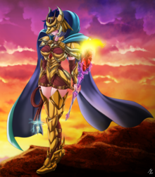 Size: 2085x2367   Tagged: safe, artist:mauroz, princess ember, human, armor, bloodstone scepter, dragon lord ember, female, helmet, humanized, solo