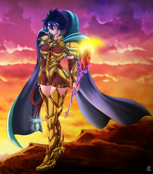 Size: 2085x2367   Tagged: safe, alternate version, artist:mauroz, princess ember, human, armor, bloodstone scepter, dragon lord ember, female, humanized, solo