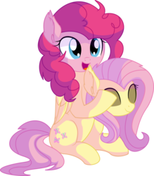 Size: 6230x7098 | Tagged: absurd res, adoracreepy, animated, artist:cyanlightning, clothes, costume, creepy, cute, disguise, ear fluff, earth pony, female, fluttershy, fluttershy suit, fluttersuit, folded wings, mare, open mouth, pegasus, pinkie being pinkie, pinkie pie, pony, pony costume, safe, simple background, sitting, smiling, solo, spoiler:s03, .svg available, the crystal empire, transparent background, vector, voice actor joke, wings