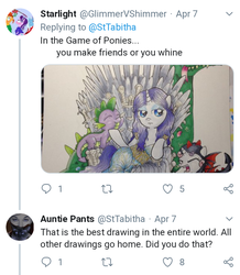 Size: 720x826 | Tagged: safe, artist:catscratchpaper, rarity, spike, sweetie belle, dragon, clothes, cosplay, costume, daenerys targaryen, dragon costume, game of thrones, harsher in hindsight, meta, petting, tabitha st. germain, twitter
