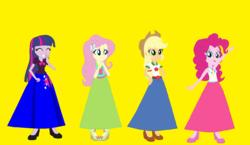 Size: 1236x718   Tagged: safe, artist:starman1999, applejack, fluttershy, pinkie pie, twilight sparkle, alicorn, equestria girls, twilight sparkle (alicorn)