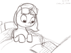 Size: 1000x750 | Tagged: artist:crabs_of_steam, bed, female, filly, in bed, magic, monochrome, notebook, oc, oc only, oc:sumi brushstroke, pony, quill, safe, smiling, solo, telekinesis, unicorn