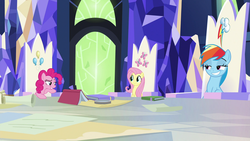 Size: 1920x1080 | Tagged: book, earth pony, female, fluttershy, friendship throne, grin, lidded eyes, map, mare, pegasus, pinkie pie, pony, rainbow dash, raised eyebrow, safe, screencap, smiling, smirk, sparkle's seven, spoiler:s09e04, throne