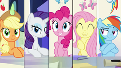 Size: 1920x1080 | Tagged: animation error, applejack, eyes closed, fluttershy, friendship throne, grin, lip bite, pinkie pie, pony, rainbow dash, rarity, safe, screencap, smiling, smug, sparkle's seven, split screen, spoiler:s09e04