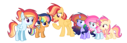 Size: 3061x1052 | Tagged: artist:thesmall-artist, female, filly, half-siblings, magical lesbian spawn, mare, oc, oc only, offspring, parent:flash magnus, parent:flash sentry, parent:fluttershy, parent:princess celestia, parent:princess luna, parent:rainbow dash, parents:dashlestia, parents:dashmagnus, parents:flashdash, parents:flutterdash, parents:lunadash, parents:sunsetdash, parent:sunset shimmer, pegasus, pony, safe, simple background, teenager, transparent background, unicorn