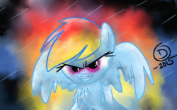 Size: 1157x720 | Tagged: abstract background, artist:superdashiebros, chest fluff, evil grin, female, grin, mare, pegasus, pony, rainbow dash, safe, smiling, solo