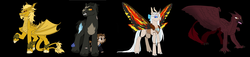 Size: 3380x768 | Tagged: artist:fallenangel5414, changeling, changelingified, changeling queen, crossover, female, godzilla, godzilla: king of the monsters 2019, godzilla (series), griffon, griffonized, king ghidorah, kirin, kirin-ified, madison russel, monsterverse, mothra, ponified, pony, rodan, safe, species swap, winged kirin