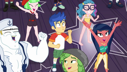 Size: 1920x1080 | Tagged: safe, screencap, bulk biceps, desert sage, doodle bug, drama letter, flash sentry, mile hill, sandalwood, technicolor waves, waldo whereabout, watermelody, equestria girls, equestria girls series, spring breakdown, spoiler:eqg series (season 2), all good (song), bare shoulders, belly button, bikini, blushing, cheering, clothes, converse, cute, diasentres, feet, female, legs, male, midriff, offscreen character, sageabetes, shoes, shorts, sleeveless, sneakers, socks, strapless, swimsuit, tankini