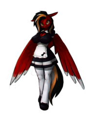 Size: 1300x1700 | Tagged: safe, alternate version, artist:stardep, oc, oc only, oc:margon, anthro, pegasus, unguligrade anthro, big breasts, black mane, breasts, clothes, female, maid, red coat, rule 63, simple background, socks, solo, standing, striped mane, tattoo, transparent background, wings