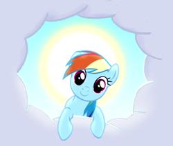 Size: 425x360   Tagged: safe, screencap, rainbow dash, pony, the ticket master, cloud, cute, dashabetes, female, mare, solo, sun