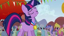 Size: 640x360 | Tagged: safe, screencap, bon bon, candy mane, cherry berry, lemon hearts, linky, lyra heartstrings, ponet, rainbowshine, sea swirl, seafoam, shoeshine, sweetie drops, twilight sparkle, twinkleshine, earth pony, pony, unicorn, fall weather friends, 42, background pony, eyes closed, medal, missing horn, solo focus, unicorn twilight
