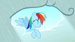 Size: 640x360   Tagged: safe, screencap, rainbow dash, pony, the ticket master, cloud, cute, dashabetes, eyes closed, female, mare, rain, solo