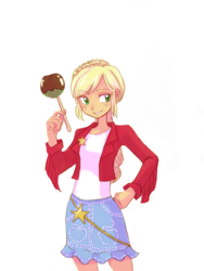 Size: 2448x3264 | Tagged: alternate hairstyle, applejack, artist:haibaratomoe, caramel apple (food), clothes, equestria girls, female, freckles, safe, simple background, solo, white background