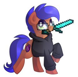 Size: 1256x1248 | Tagged: safe, artist:drawntildawn, oc, oc only, oc:odyssey flash, pegasus, pony, clothes, diamond sword, hidden wings, hoodie, minecraft, mouth hold, sword, weapon