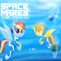 Size: 4990x5000 | Tagged: absurd res, april fools, april fools 2019, artist:theretroart88, clothes, equestria daily, g5, movie, movie accurate, pegasus, planet, pony, rainbow dash, safe, space, space mares, spitfire, stars