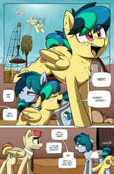 Size: 1080x1649 | Tagged: artist:shinodage, chest fluff, clothes, comic, comic:delta vee's junkyard, cute, delta vee's junkyard, diageetes, dialogue, eye clipping through hair, eyes closed, family, female, filly, floppy ears, flying, freckles, looking at each other, male, mare, necktie, oc, oc:apogee, oc:delta vee, oc:jet stream, oc only, open mouth, pegasus, pony, safe, sky, speech bubble, stallion, tinyface, tree