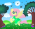 Size: 1535x1250 | Tagged: safe, artist:spellboundcanvas, fluttershy, bee, bird, butterfly, clothes, cloud, cloudsdale, cute, dress, flower, fluttershy day, flying, grass, hill, in the air, shyabetes, tree