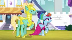 Size: 1920x1080   Tagged: safe, screencap, rainbow dash, zephyr breeze, pony, sparkle's seven, female, male, megaradash, rainbow dash always dresses in style